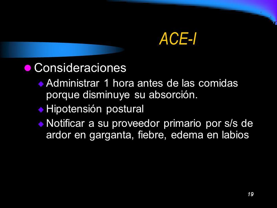 19 ACE-I Consideraciones Administrar 1 hora antes de las comidas porque disminuye su absorción. Hipotensión postural Notificar a su proveedor primario