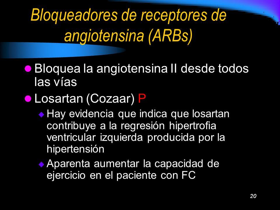 20 Bloqueadores de receptores de angiotensina (ARBs) Bloquea la angiotensina II desde todos las vías Losartan (Cozaar) P Hay evidencia que indica que