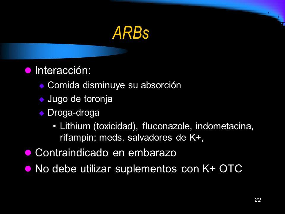 22 ARBs Interacción: Comida disminuye su absorción Jugo de toronja Droga-droga Lithium (toxicidad), fluconazole, indometacina, rifampin; meds. salvado