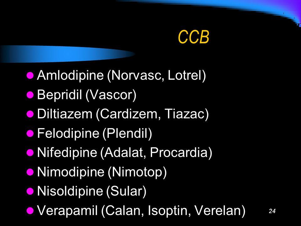 24 CCB Amlodipine (Norvasc, Lotrel) Bepridil (Vascor) Diltiazem (Cardizem, Tiazac) Felodipine (Plendil) Nifedipine (Adalat, Procardia) Nimodipine (Nim