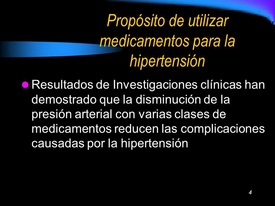 4 Propósito de utilizar medicamentos para la hipertensión Resultados de Investigaciones clínicas han demostrado que la disminución de la presión arter