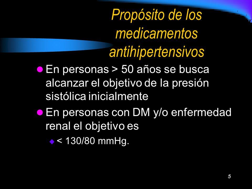 5 Propósito de los medicamentos antihipertensivos En personas > 50 años se busca alcanzar el objetivo de la presión sistólica inicialmente En personas
