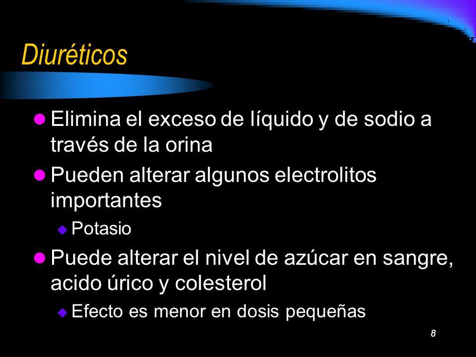 8 Diuréticos Elimina el exceso de líquido y de sodio a través de la orina Pueden alterar algunos electrolitos importantes Potasio Puede alterar el niv