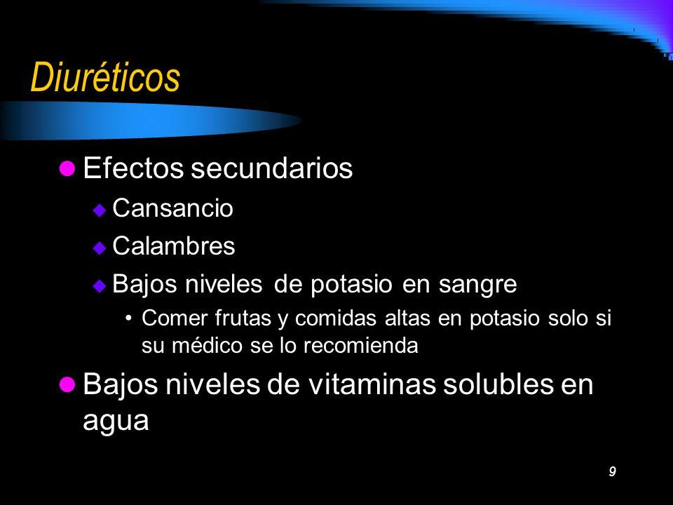 9 Diuréticos Efectos secundarios Cansancio Calambres Bajos niveles de potasio en sangre Comer frutas y comidas altas en potasio solo si su médico se l
