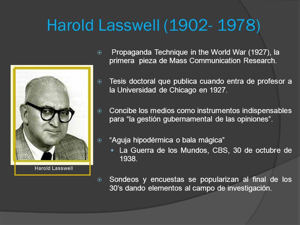 Harold Lasswell (1902- 1978) Propaganda Technique in the World War (1927), la primera pieza de Mass Communication Research. Tesis doctoral que publica