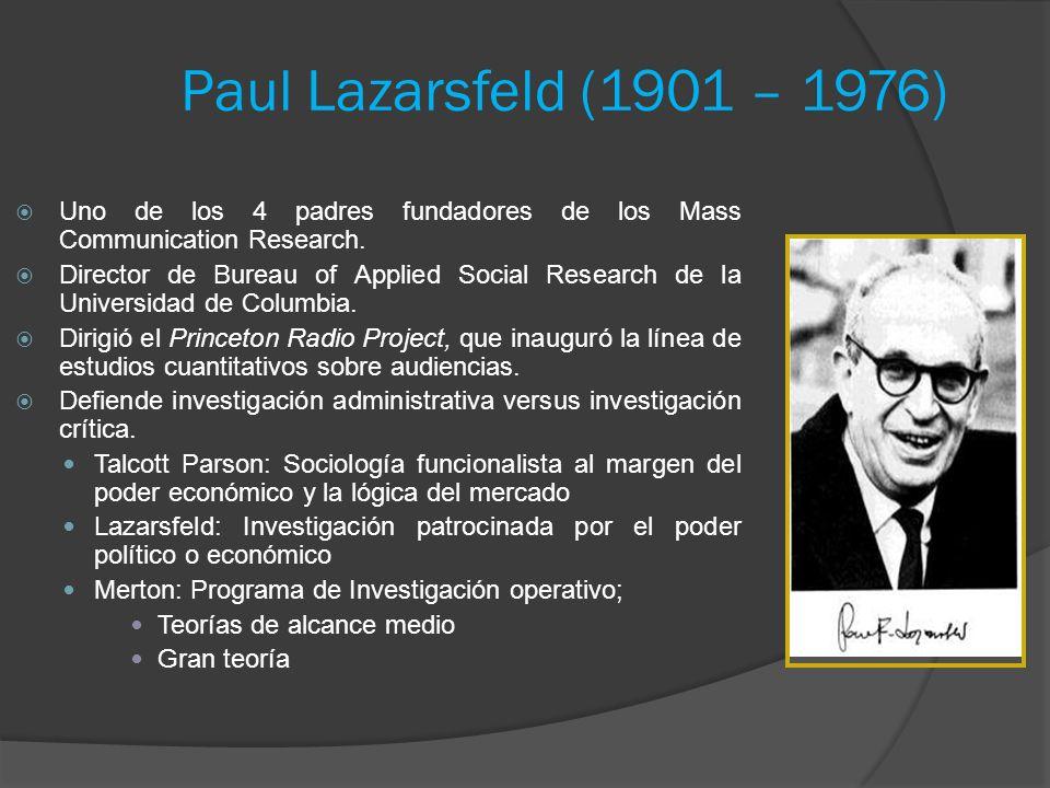 Paul Lazarsfeld (1901 – 1976) Uno de los 4 padres fundadores de los Mass Communication Research. Director de Bureau of Applied Social Research de la U