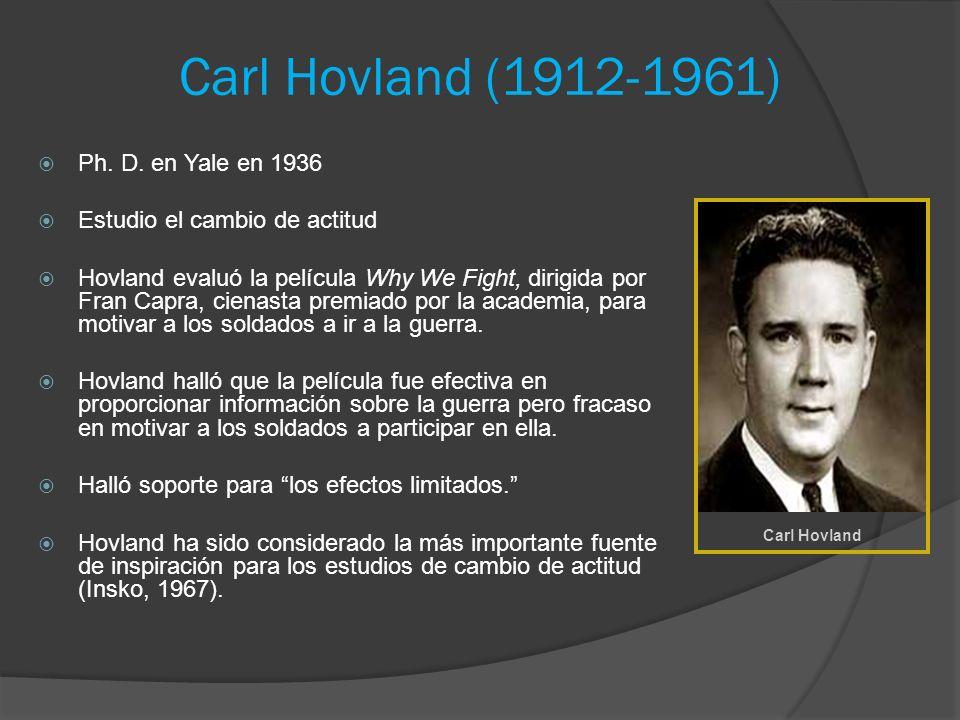 Carl Hovland (1912-1961) Ph. D. en Yale en 1936 Estudio el cambio de actitud Hovland evaluó la película Why We Fight, dirigida por Fran Capra, cienast