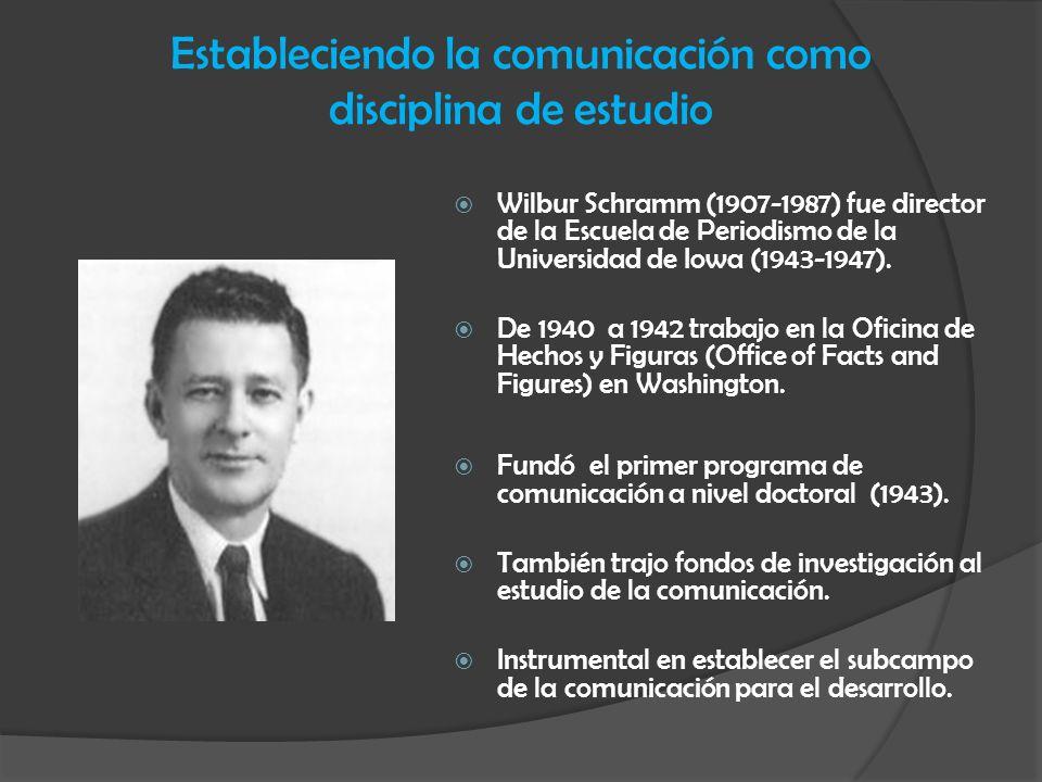 Estableciendo la comunicación como disciplina de estudio Wilbur Schramm (1907-1987) fue director de la Escuela de Periodismo de la Universidad de Iowa