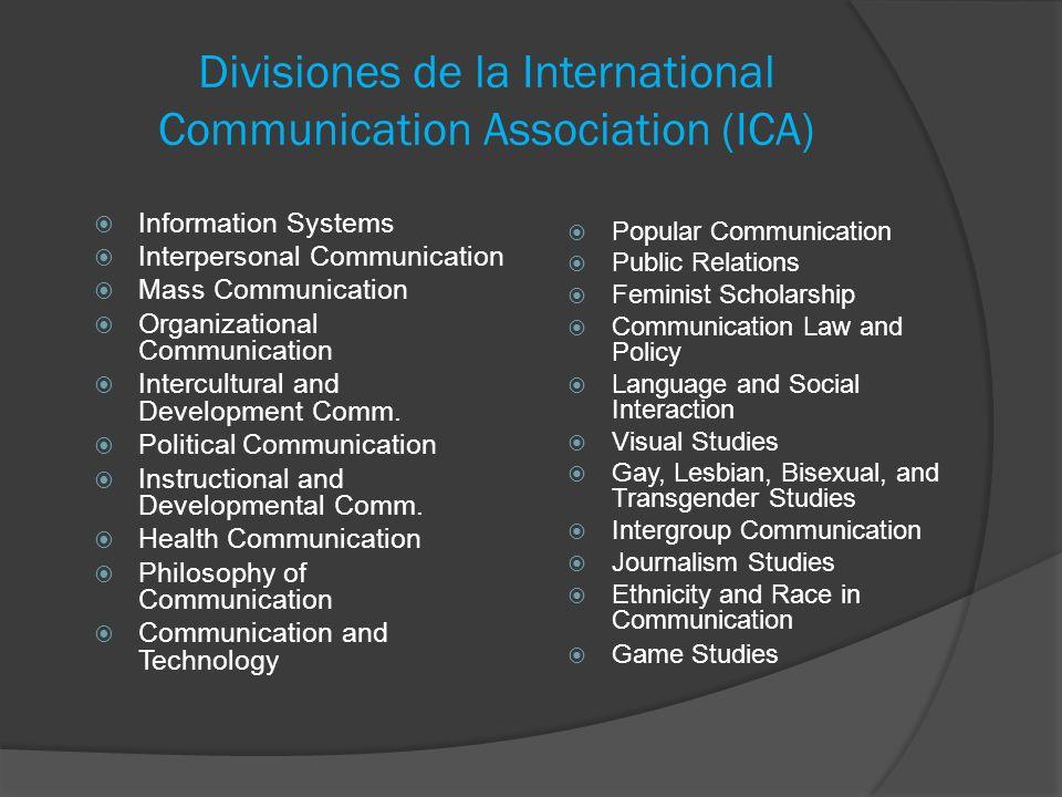 Divisiones de la International Communication Association (ICA) Information Systems Interpersonal Communication Mass Communication Organizational Commu