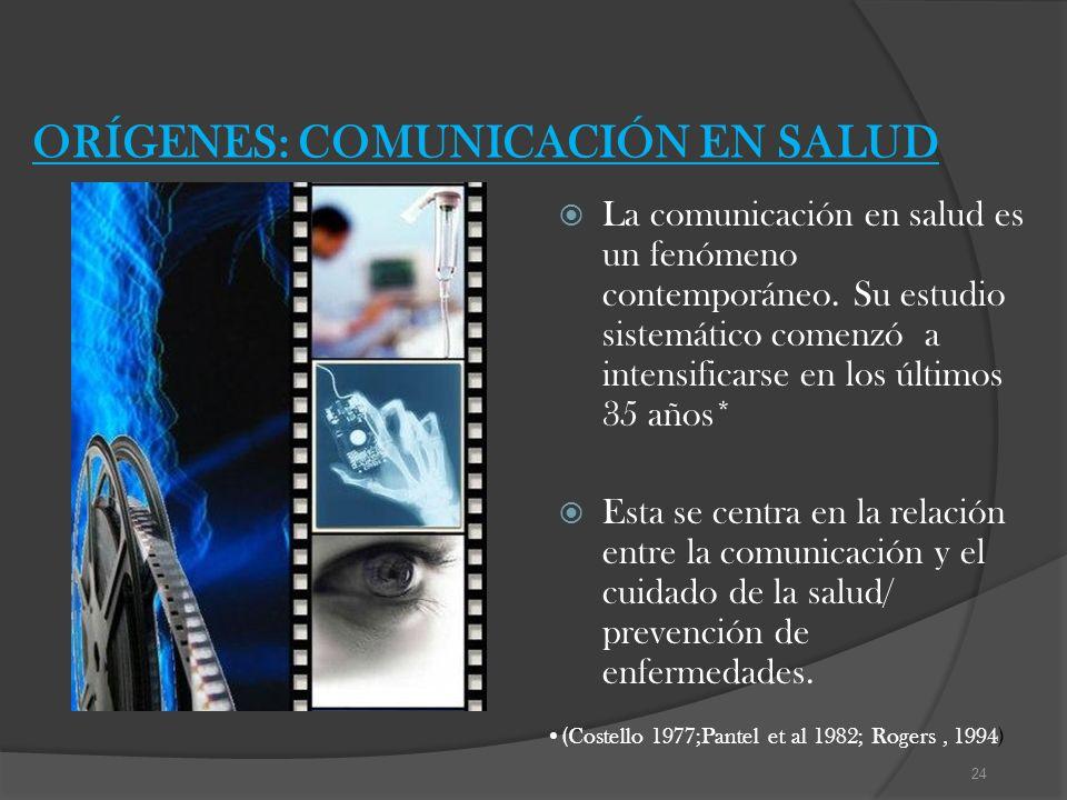 ORÍGENES: COMUNICACIÓN EN SALUD La comunicación en salud es un fenómeno contemporáneo. Su estudio sistemático comenzó a intensificarse en los últimos