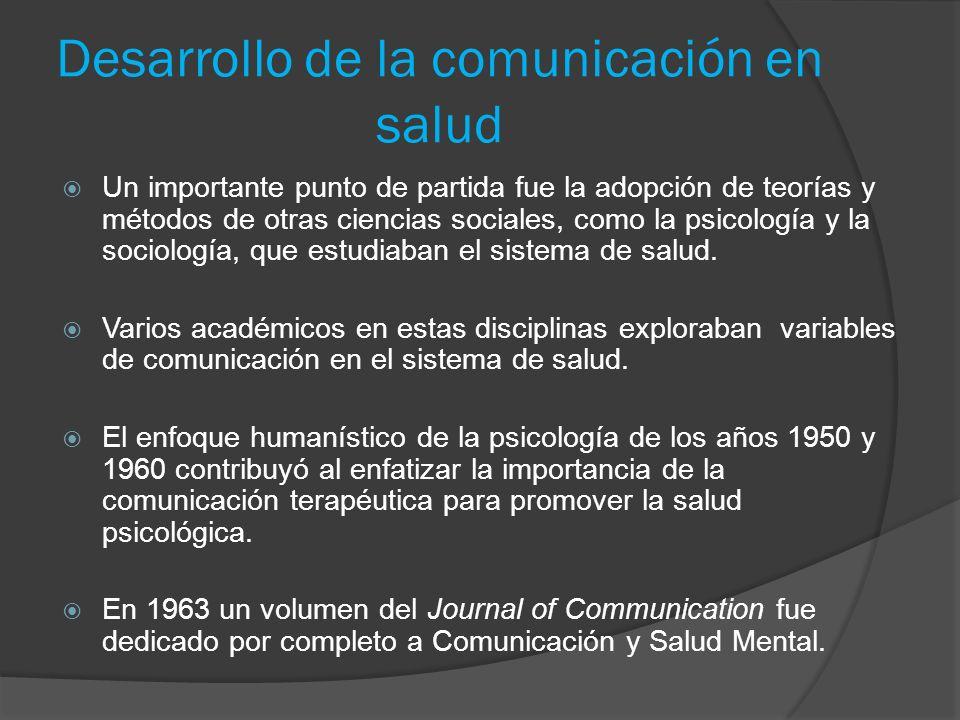 Desarrollo de la comunicación en salud Un importante punto de partida fue la adopción de teorías y métodos de otras ciencias sociales, como la psicolo