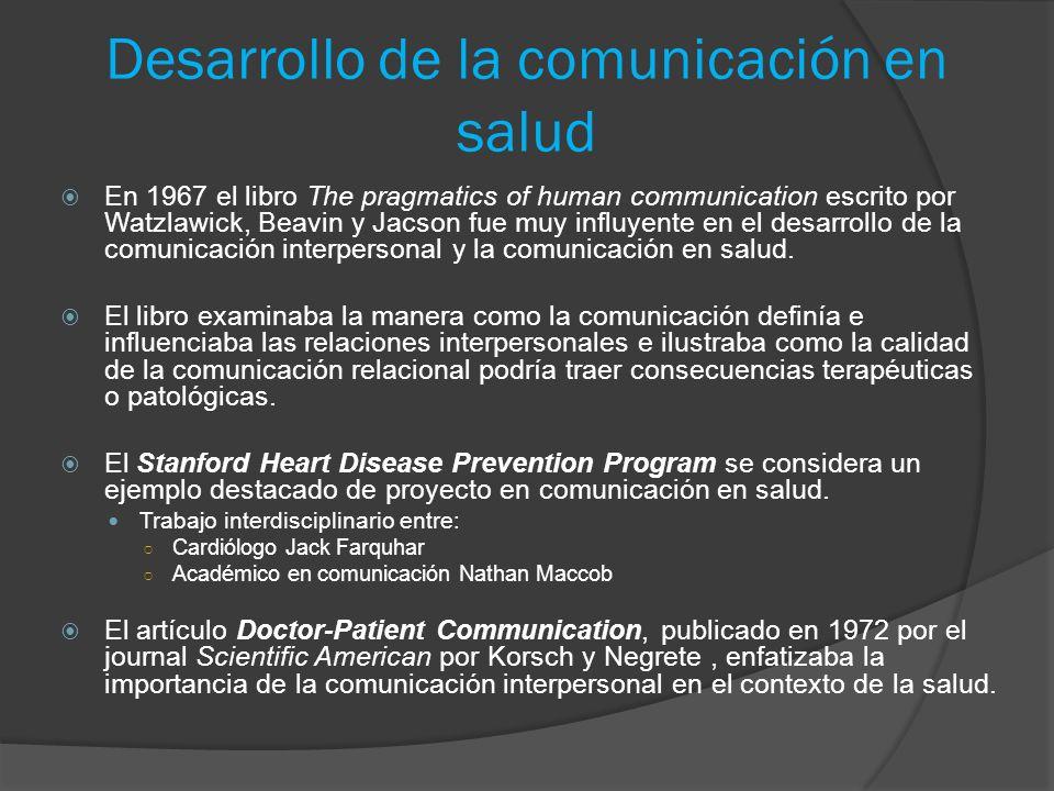 Desarrollo de la comunicación en salud En 1967 el libro The pragmatics of human communication escrito por Watzlawick, Beavin y Jacson fue muy influyen