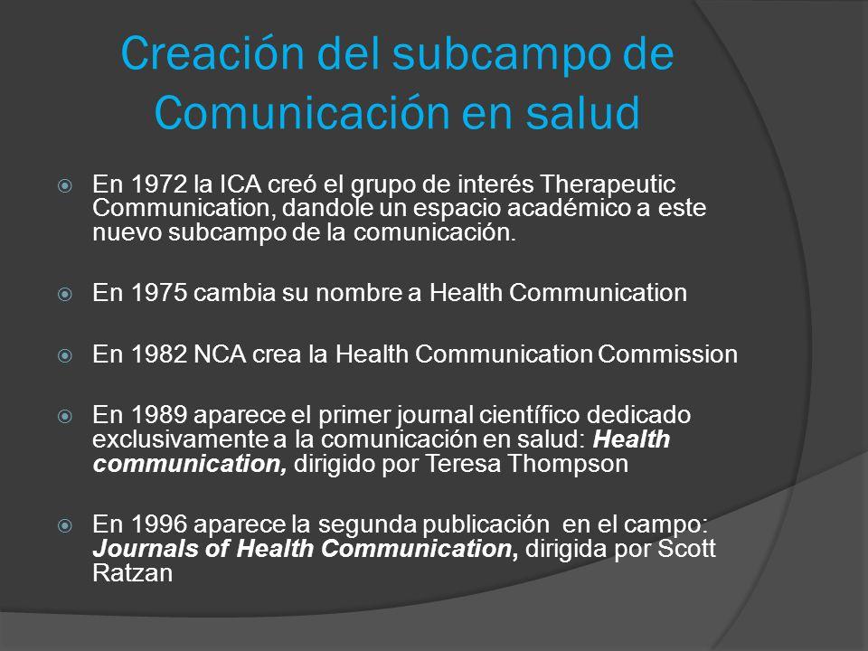 Creación del subcampo de Comunicación en salud En 1972 la ICA creó el grupo de interés Therapeutic Communication, dandole un espacio académico a este