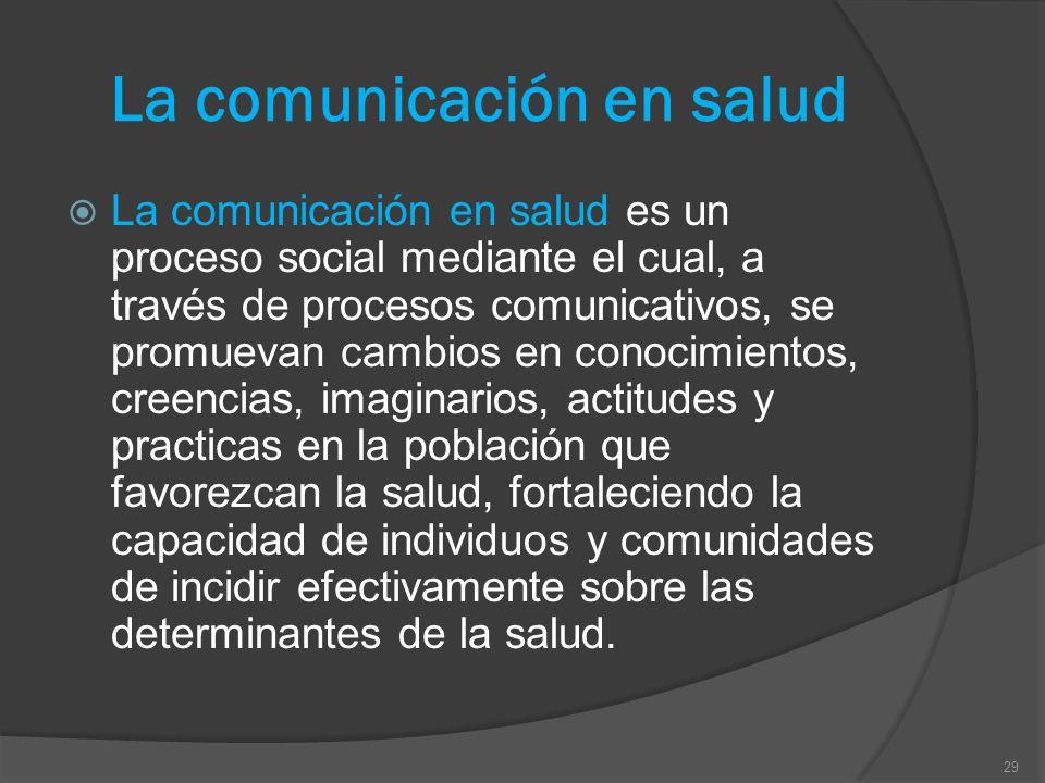 La comunicación en salud La comunicación en salud es un proceso social mediante el cual, a través de procesos comunicativos, se promuevan cambios en c