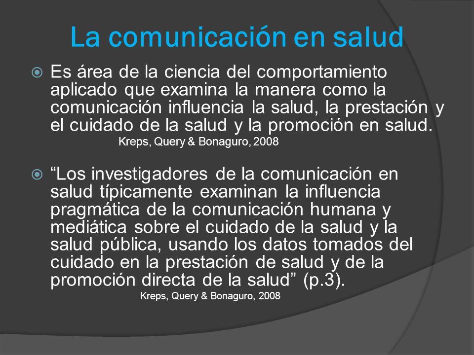La comunicación en salud Es área de la ciencia del comportamiento aplicado que examina la manera como la comunicación influencia la salud, la prestaci