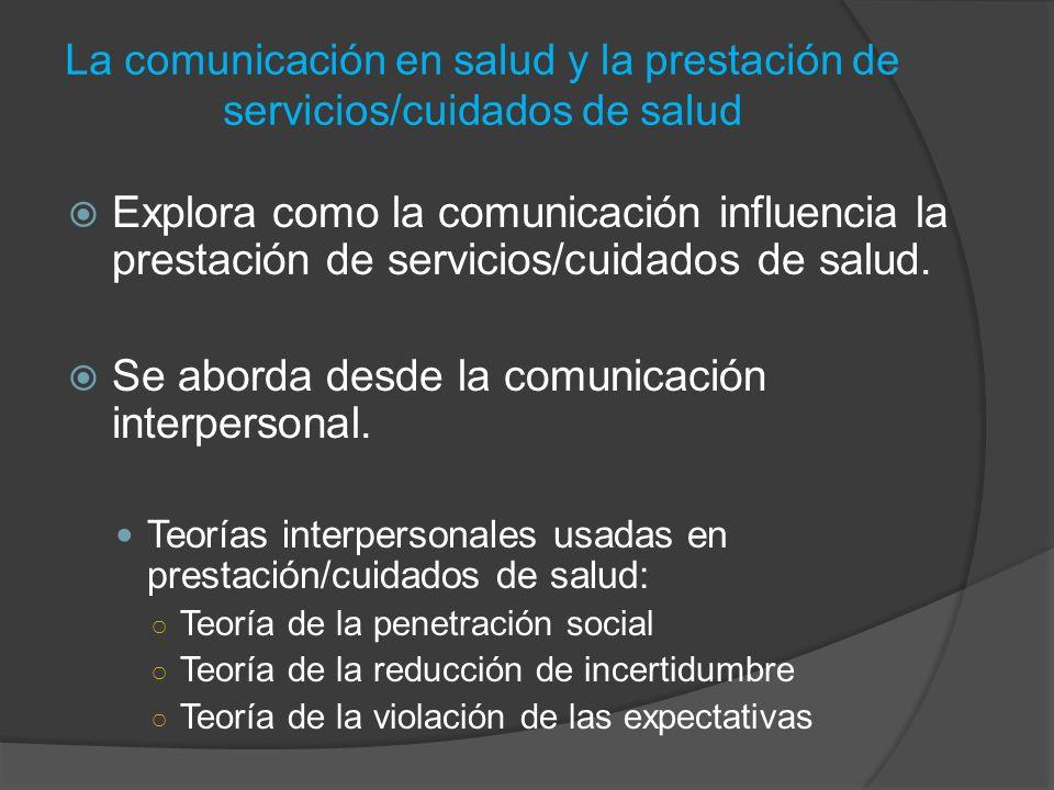 Explora como la comunicación influencia la prestación de servicios/cuidados de salud. Se aborda desde la comunicación interpersonal. Teorías interpers