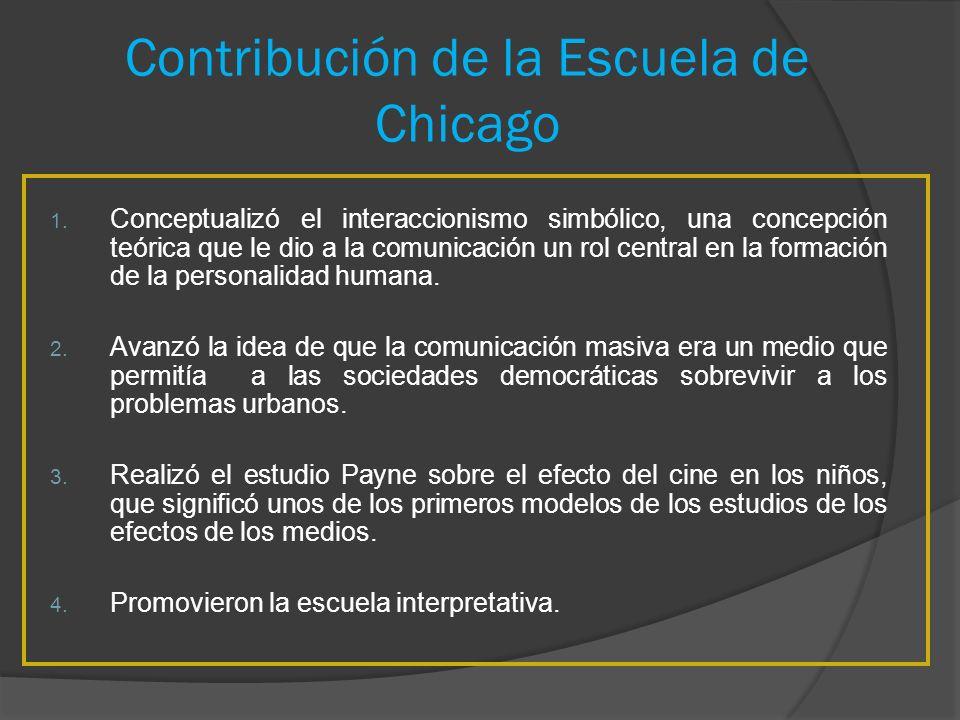 Contribución de la Escuela de Chicago 1. Conceptualizó el interaccionismo simbólico, una concepción teórica que le dio a la comunicación un rol centra