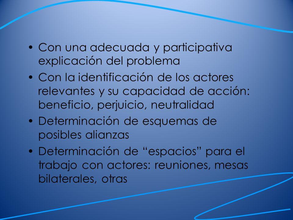 Con una adecuada y participativa explicación del problema Con la identificación de los actores relevantes y su capacidad de acción: beneficio, perjuic