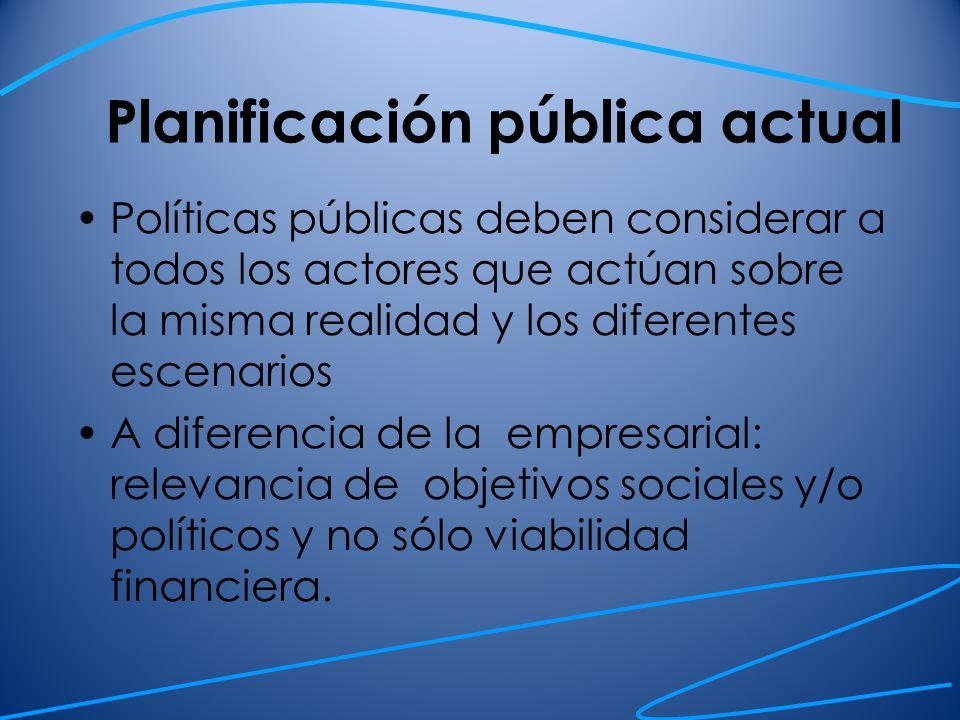 Planificación pública actual Políticas públicas deben considerar a todos los actores que actúan sobre la misma realidad y los diferentes escenarios A