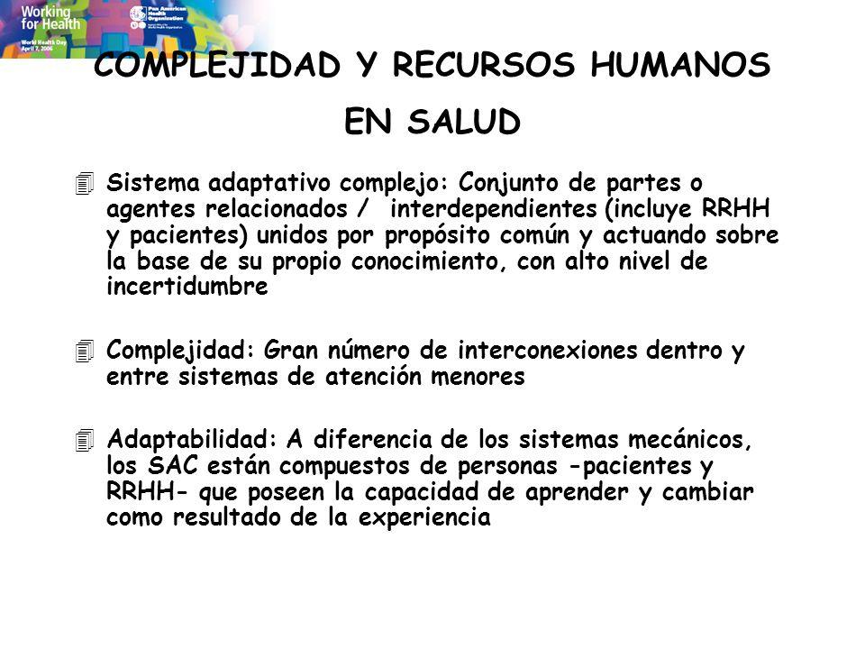 COMPLEJIDAD Y RECURSOS HUMANOS EN SALUD 4Sistema adaptativo complejo: Conjunto de partes o agentes relacionados / interdependientes (incluye RRHH y pa