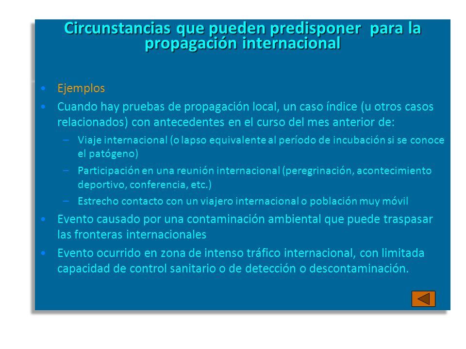 Circunstancias que pueden predisponer para la propagación internacional Ejemplos Cuando hay pruebas de propagación local, un caso índice (u otros caso