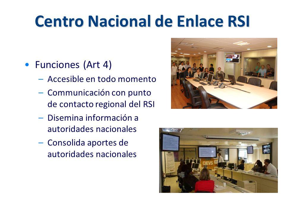 Centro Nacional de Enlace RSI Funciones (Art 4) –Accesible en todo momento –Communicación con punto de contacto regional del RSI –Disemina información