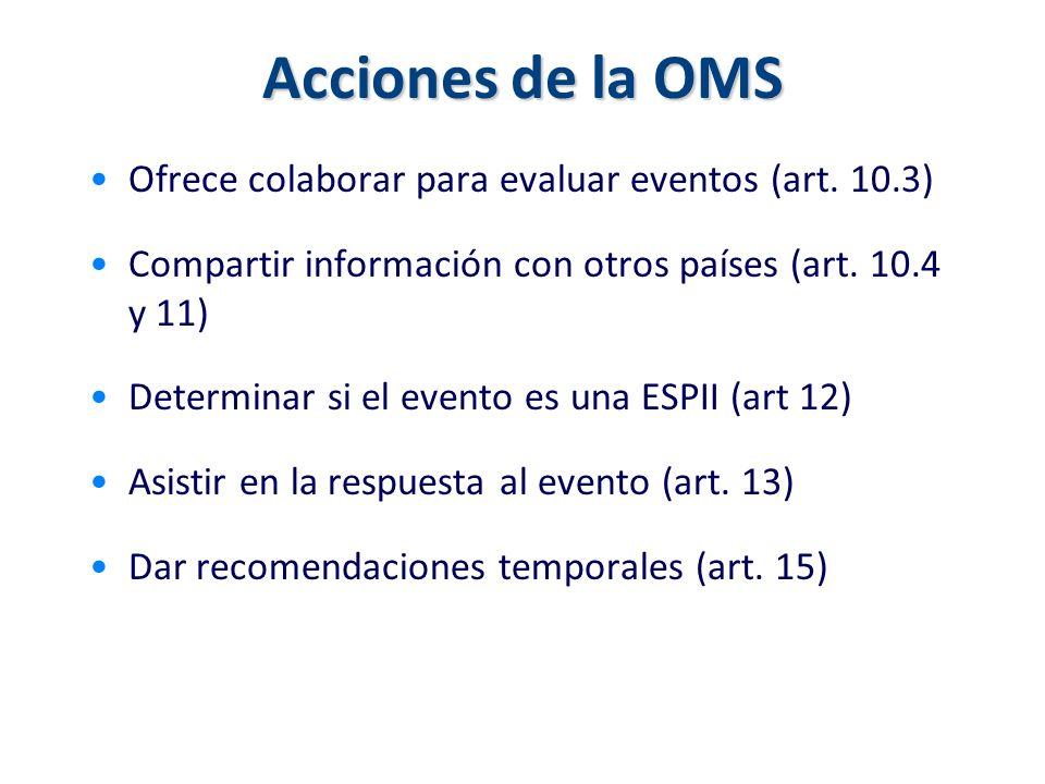 Acciones de la OMS Ofrece colaborar para evaluar eventos (art. 10.3) Compartir información con otros países (art. 10.4 y 11) Determinar si el evento e