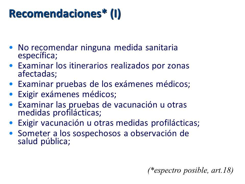 Recomendaciones* (I) No recomendar ninguna medida sanitaria específica; Examinar los itinerarios realizados por zonas afectadas; Examinar pruebas de l