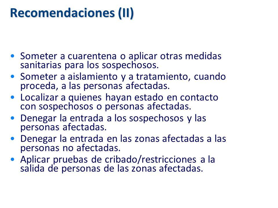 Recomendaciones (II) Someter a cuarentena o aplicar otras medidas sanitarias para los sospechosos. Someter a aislamiento y a tratamiento, cuando proce