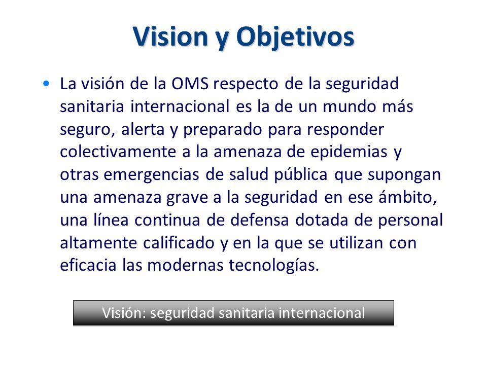 Vision y Objetivos La visión de la OMS respecto de la seguridad sanitaria internacional es la de un mundo más seguro, alerta y preparado para responde