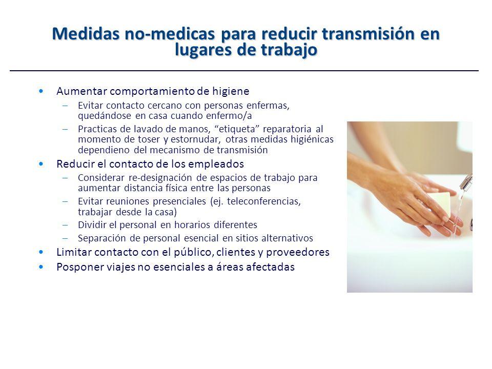 Medidas no-medicas para reducir transmisión en lugares de trabajo Aumentar comportamiento de higiene –Evitar contacto cercano con personas enfermas, q