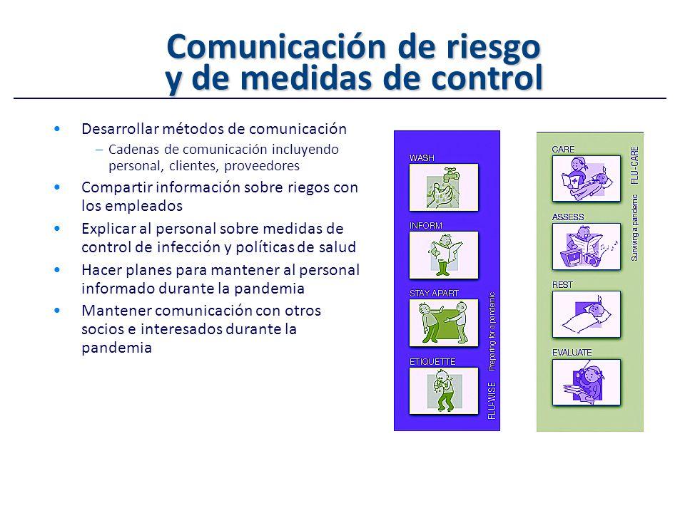 Comunicación de riesgo y de medidas de control Desarrollar métodos de comunicación –Cadenas de comunicación incluyendo personal, clientes, proveedores