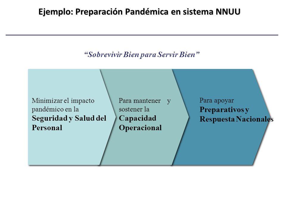 Ejemplo: Preparación Pandémica en sistema NNUU Sobrevivir Bien para Servir Bien Minimizar el impacto pandémico en la Seguridad y Salud del Personal Pa