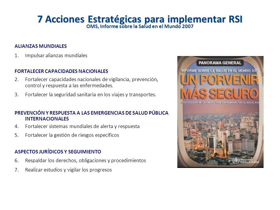 7 Acciones Estratégicas para implementar RSI OMS, Informe sobre la Salud en el Mundo 2007 ALIANZAS MUNDIALES 1.Impulsar alianzas mundiales FORTALECER