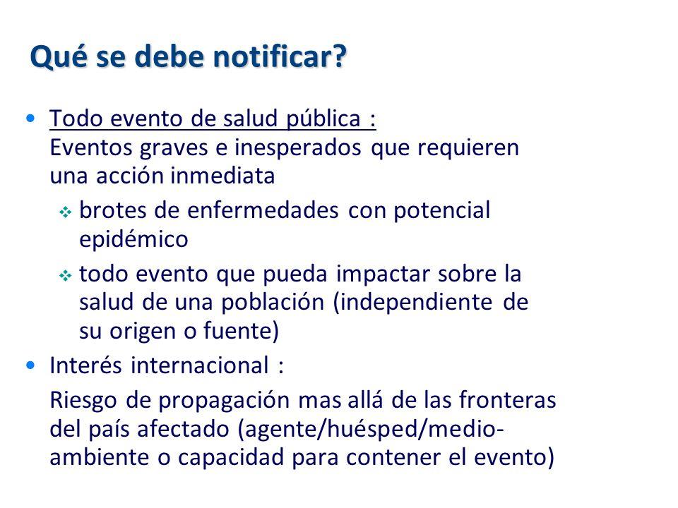 Qué se debe notificar? Todo evento de salud pública : Eventos graves e inesperados que requieren una acción inmediata brotes de enfermedades con poten