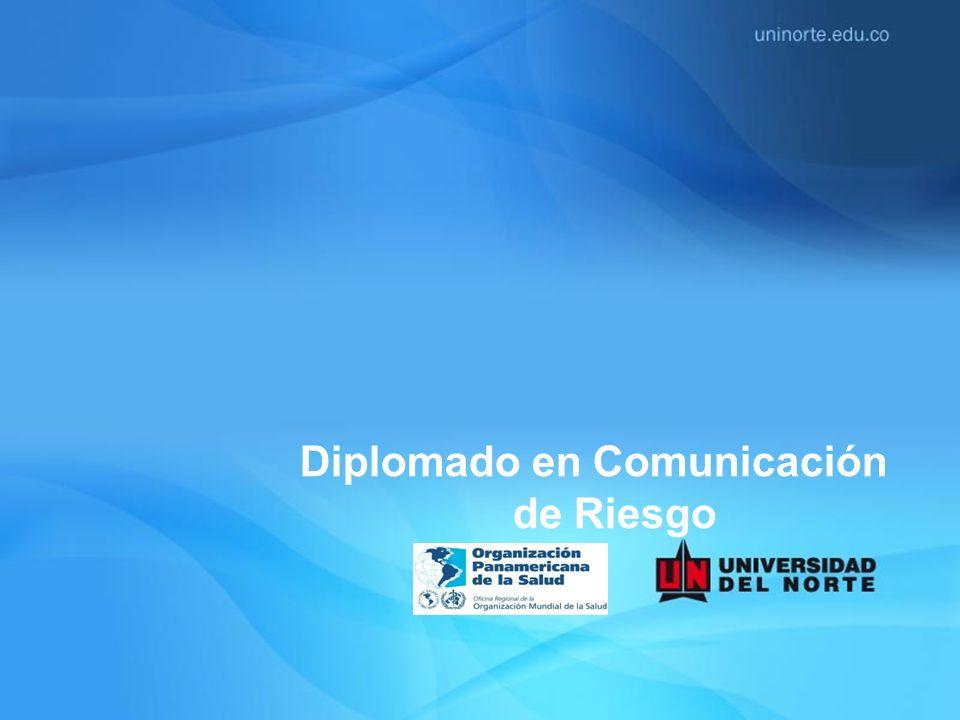 MÓDULO UNIDAD I: INTRODUCCIÓN A LA SALUD PÚBLICA 1: Aspectos básicos de salud pública y epidemiología 2: El Reglamento Sanitario Internacional 3: Análisis de situación r de salud – ASIS II: INTRODUCCIÓN A LA COMUNICACIÓN DE RIESGO 1: Fundamentos conceptuales y teóricos sobre percepción de riesgo y comunicación de riesgo 2: Mejores prácticas de la comunicación de riesgo de la OMS III: COMUNICACIÓN DE RIESGO: TEORÍAS Y MODELOS 1: Importancia de la teoría en la comunicación en salud 2: Modelos y teorías usados en la comunicación de riesgo IV: LA ESTRATEGIA DE COMUNICACIÓN DE RIESGOS 1: Estrategia de comunicación de riesgos y su importancia en el contexto de la salud pública 2: Etapas de la estrategia de comunicación de riesgos V: HABLANDO CON EL PÚBLICO, VOCEROS Y MEDIOS MASIVOS Y SOCIALES 1: Diseño e implementación de plan de medios 2: Conociendo y trabajando con el periodista 3:Principios para el manejo de medios 4: El rol de los comunicadores claves VI: VIGILANCIA DE LA COMUNICACIÓN Y METODOLOGÍA PARA LA EVALUACIÓN 1: La importancia de la evaluación 2: Metodologías e indicadores de evaluación 3: Aplicación de los resultados de la evaluación