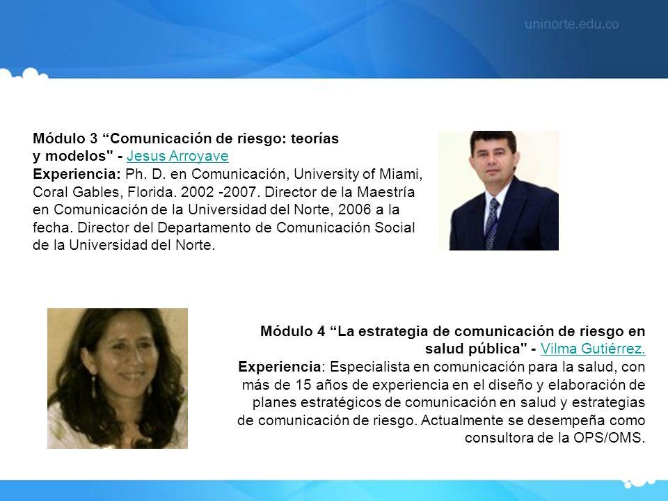 Módulo 3 Comunicación de riesgo: teorías y modelos