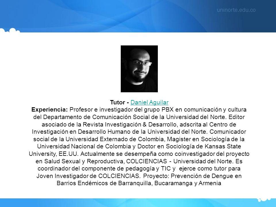 Tutor - Daniel Aguilar Experiencia: Profesor e investigador del grupo PBX en comunicación y cultura del Departamento de Comunicación Social de la Univ