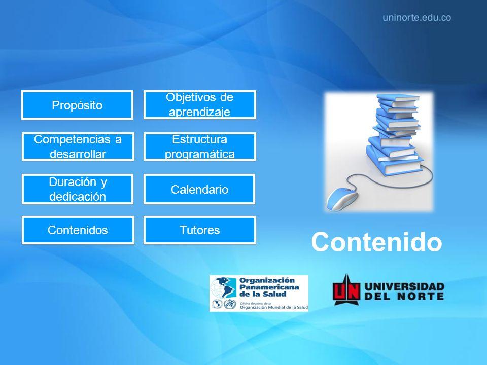Propósito Objetivos de aprendizaje Objetivos de aprendizaje Calendario Competencias a desarrollar Competencias a desarrollar Duración y dedicación Dur