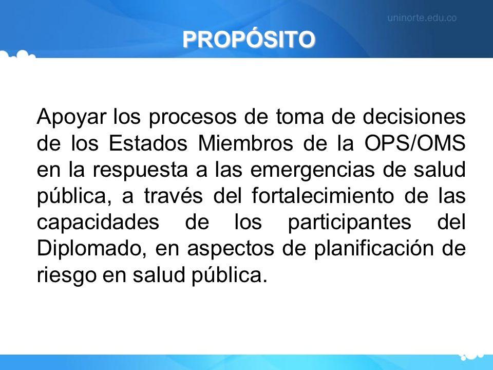 PROPÓSITO Apoyar los procesos de toma de decisiones de los Estados Miembros de la OPS/OMS en la respuesta a las emergencias de salud pública, a través