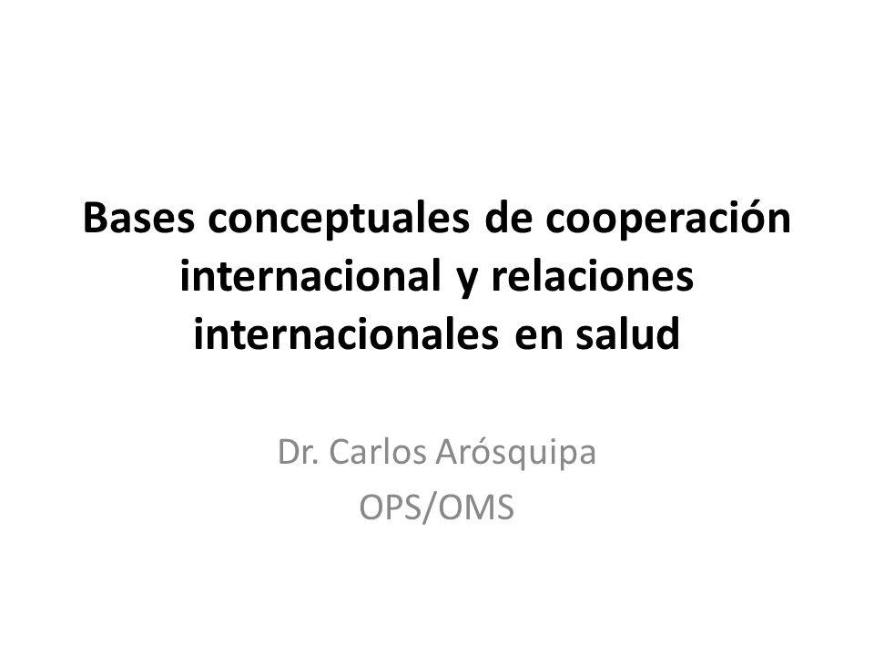 Bases conceptuales de cooperación internacional y relaciones internacionales en salud Dr.