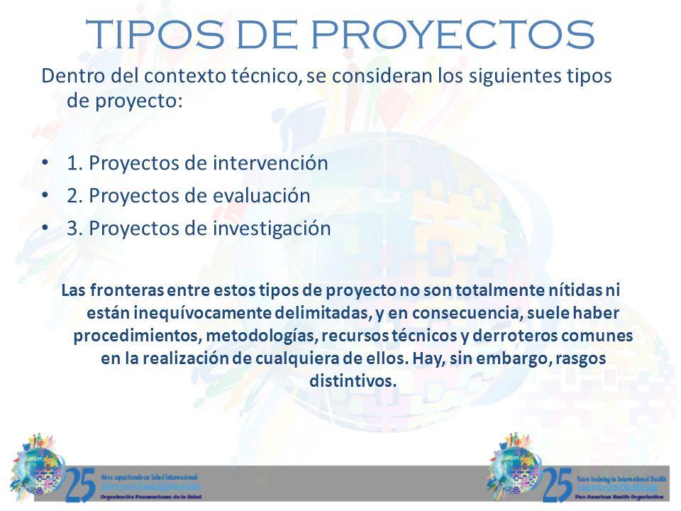 TIPOS DE PROYECTOS Dentro del contexto técnico, se consideran los siguientes tipos de proyecto: 1. Proyectos de intervención 2. Proyectos de evaluació