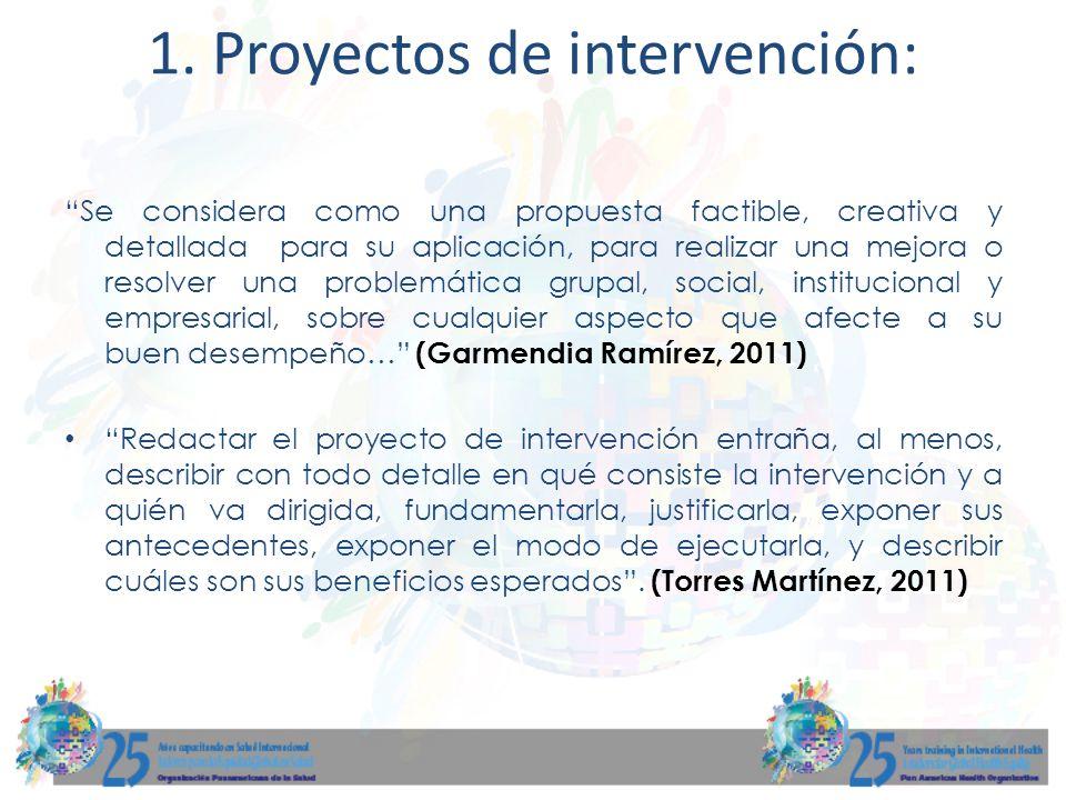 1. Proyectos de intervención: Se considera como una propuesta factible, creativa y detallada para su aplicación, para realizar una mejora o resolver u