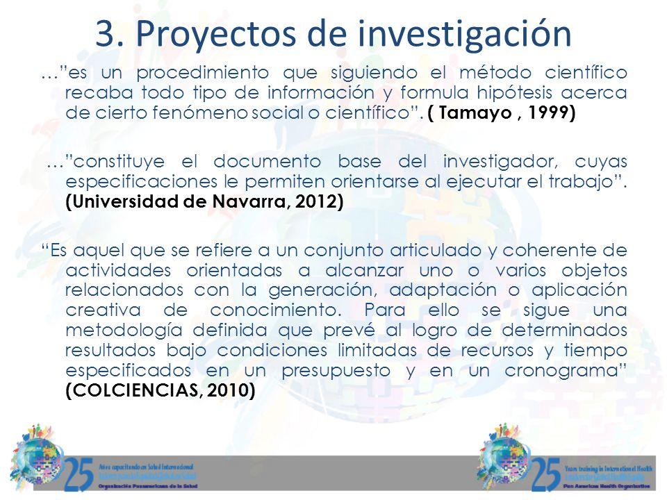 3. Proyectos de investigación …es un procedimiento que siguiendo el método científico recaba todo tipo de información y formula hipótesis acerca de ci