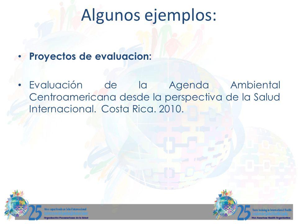 Proyectos de evaluacion: Evaluación de la Agenda Ambiental Centroamericana desde la perspectiva de la Salud Internacional. Costa Rica. 2010. Algunos e