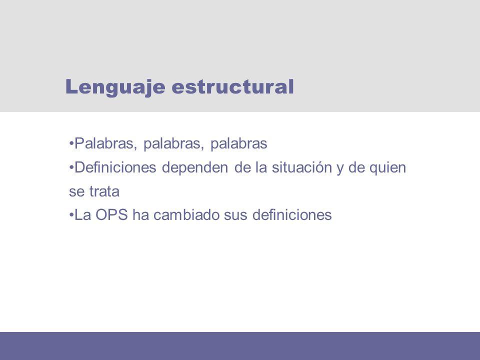 Palabras, palabras, palabras Definiciones dependen de la situación y de quien se trata La OPS ha cambiado sus definiciones Lenguaje estructural