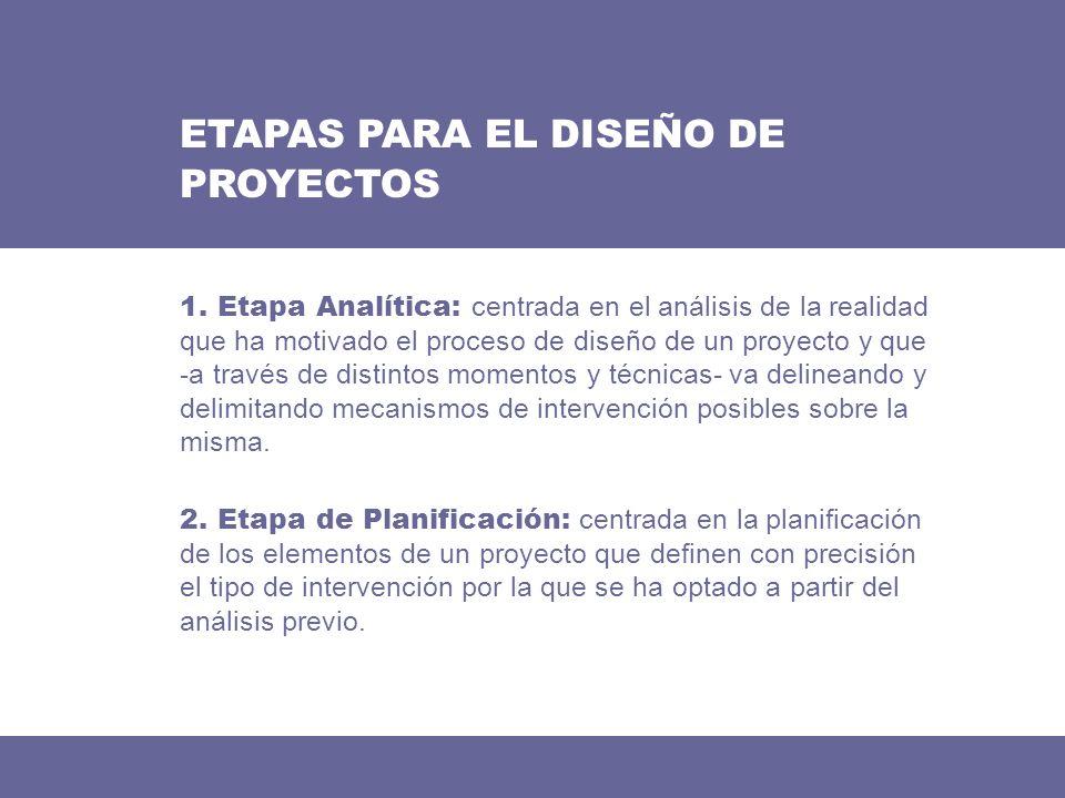 ETAPAS PARA EL DISEÑO DE PROYECTOS 2. Etapa de Planificación: centrada en la planificación de los elementos de un proyecto que definen con precisión e
