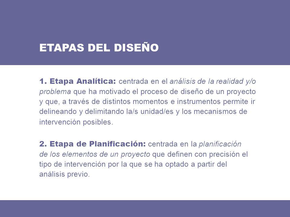 ETAPAS DEL DISEÑO 2. Etapa de Planificación: centrada en la planificación de los elementos de un proyecto que definen con precisión el tipo de interve