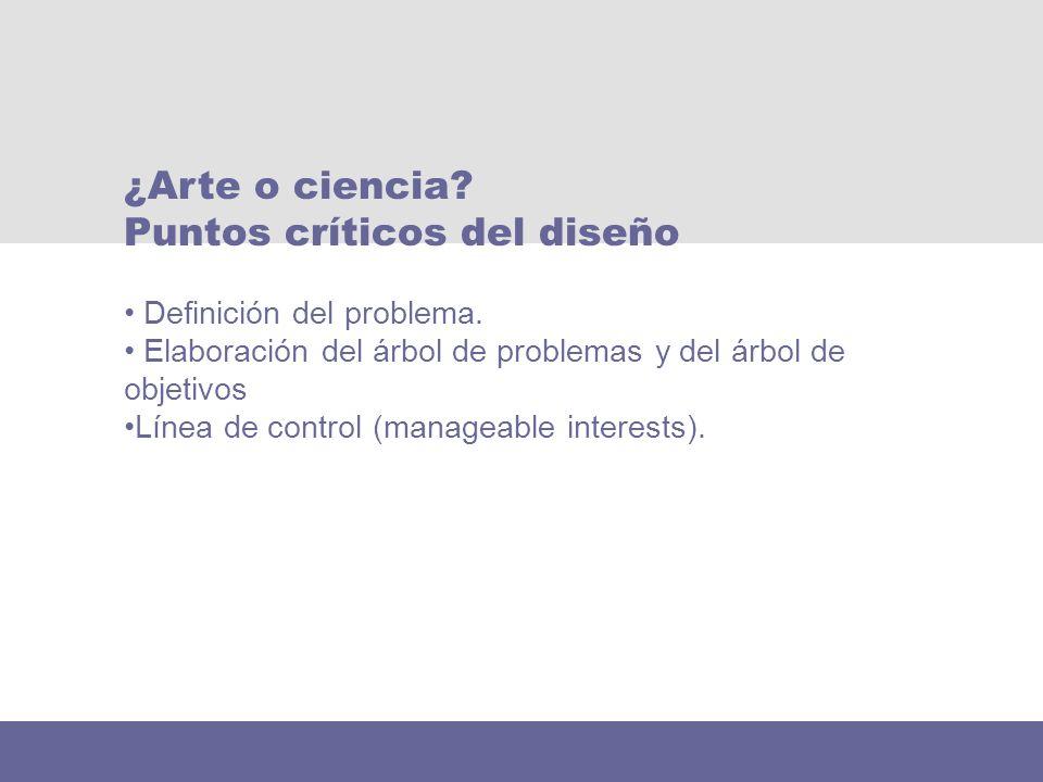 Definición del problema. Elaboración del árbol de problemas y del árbol de objetivos Línea de control (manageable interests). ¿Arte o ciencia? Puntos