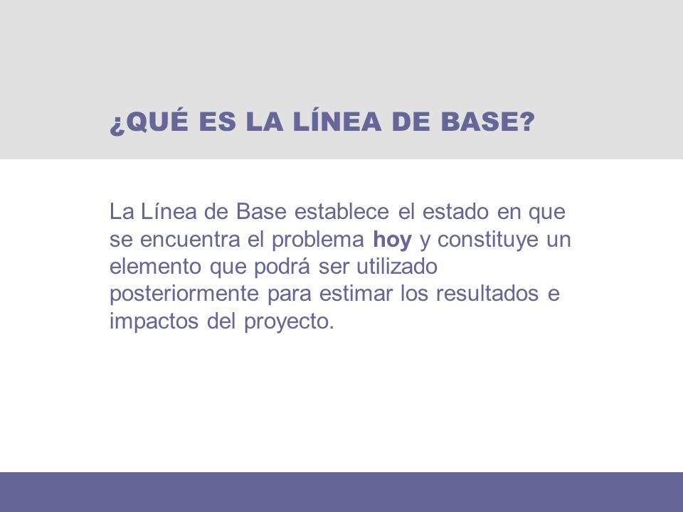 La Línea de Base establece el estado en que se encuentra el problema hoy y constituye un elemento que podrá ser utilizado posteriormente para estimar